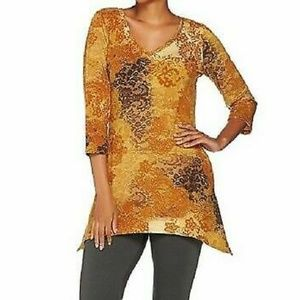 LOGO by  Lori Goldstein Terry Printed Top Women M